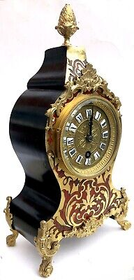 Antique Red Tortoise Shell And Brass Inlaid French Boulle Bracket Clock