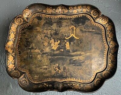 18th Century Japanese Oriental Paper Mache Black Gold Lacquer Table Tray