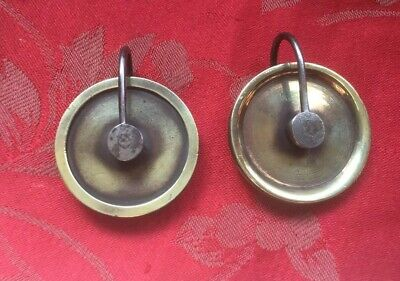 Pair Antique  Brass Grandfather Longcase  Pulley Wheel Steel Stirrup 42mm Wheels