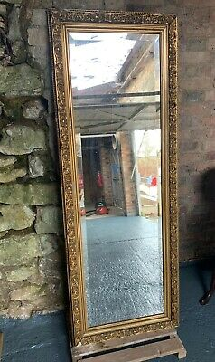 Antique Heavy Gold Mirror Full Body Height Standing Wood Bevelled Edge Victorian