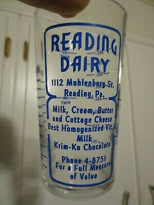 Vintage Reading Dairy Advertising Cup Glass Milk Bottle Krim-Ko Butter Cream Pa