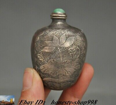 Collect Old Chinese Pure Silver Goldfish Lotus pattern snuff bottle Statue