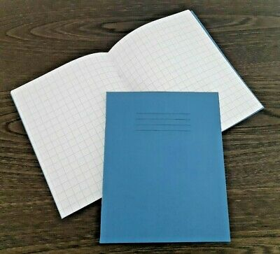 4x NEW RHINO A5 8x6.5 RULED 10mm SQUARE MATHS SCHOOL EXERCISE BOOKS 80 PAGE BLUE