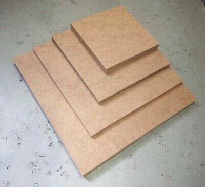 Square MDF Plain Boards Sheets, 2, 3, 4, 6, 9, 12mm, various sizes 150 - 600mm