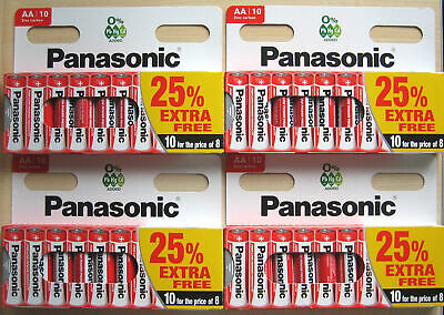 40 x AA Genuine PANASONIC Zinc Carbon Batteries MN1500 R6 1.5V Expiry 2022