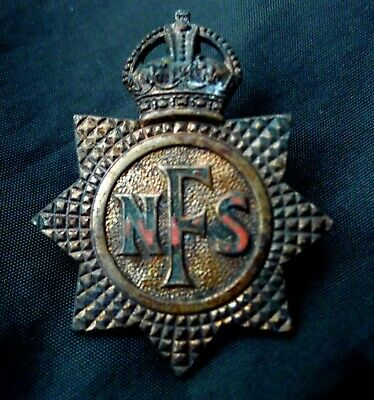 Old Ww2 Era British Fire Service Hat Badge; National Fire Service. Fire Damaged.