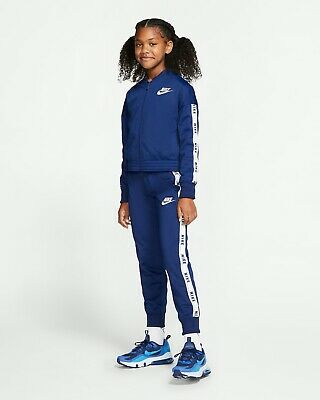 Girls' Nike Sportswear Full Zip Tracksuit Set Top Joggers Blue White BV2769 492
