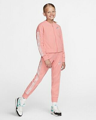 Girls' Nike Sportswear Full Zip Tracksuit Set Top Joggers Pink White BV2769 697