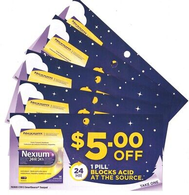 5 x Save $5.00 on Nexium Heartburn relief Oct 31 2020 Coups (Canada)