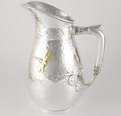 Aesthetic American Plated Japanesque Style Dragonfly Pitcher Jug. Antique c1870