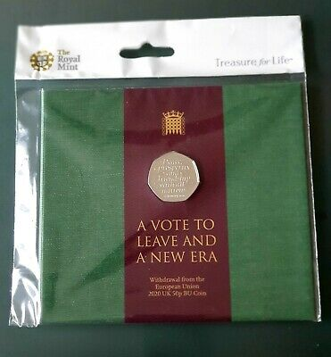 2020 Brexit 50p Certified BU in Royal Mint pack.A VOTE TO LEAVE AND A NEW ERA