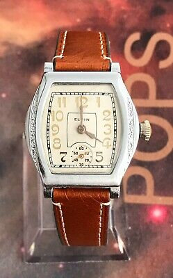 Elgin 1912 Elegant Art Deco Barrel Faced 0s Restored Vintage Mens/Ladies Watch