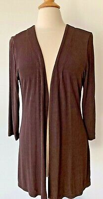 Chico's Travelers Open Front  Knit Tunic Cardigan Size 2 3/4 Sleeve in Brown