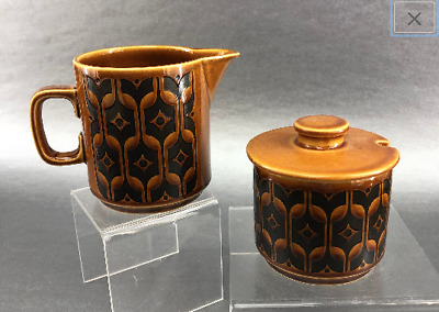Hornsea Mid Century Heirloom English Pottery Creamer Pitcher and Sugar Bowl 1970