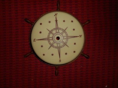 Art Deco Custard Glass Ceiling Shade Light Fixture Compass Boats w/ Ships Wheel