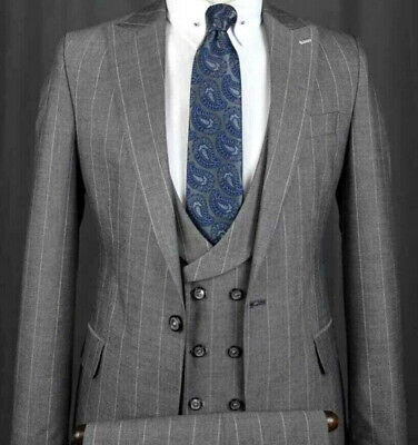 Designer Business Grey Pinstripe Suit Jacket Vest Fitted Slim