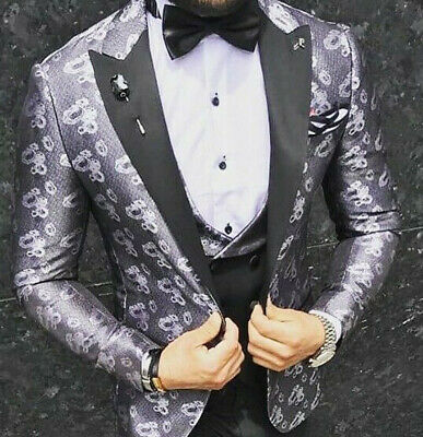 Designer Grey Black Silver Tuxedo Wedding Suit Floral Pattern Vest Slim