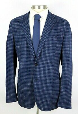 NWT $2495 Ermenegildo Zegna Blue Check Wool Silk Linen Coat Jacket Slim 46 R