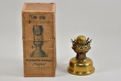 """f17h87- Formalin Lampe """"Hygeia"""", in OVP, Messing"""