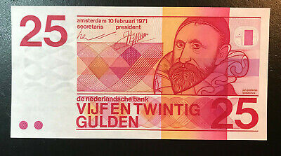 Netherlands 1971 25 Gulden P92a UNC.  Paper Money