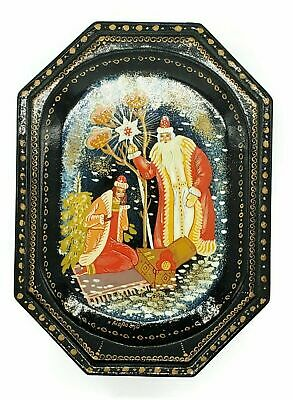 Russian Lacquer Hinged Trinket Jewelry Box Black Red Vintage Hand-Painted -b.