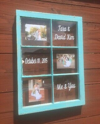 6 Pane Wood Window Wedding Picture Frame Unique Gift Couple Anniversary Present