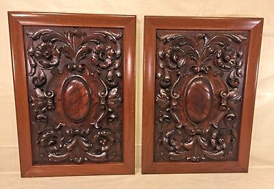 Pair of Renaissance Carved Wood Panels Walnut Wood Carvings of Scrolls, Flowers