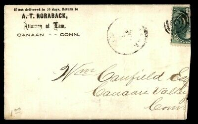 Mayfairstamps US AD COVER 1870s CONNECTICUT CANAAN ATTORNEY AT LAW wwe12185