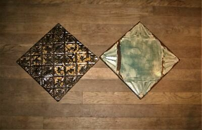 antique TIN ceiling TILES wood frame architectural salvage rustic chic paint