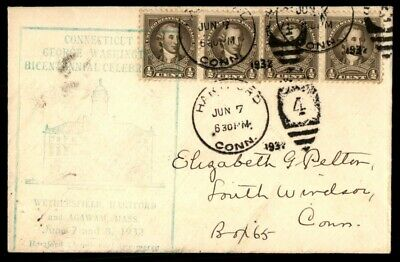 Mayfairstamps US 1930s Connecticut Washington Block Cover wwe_08393
