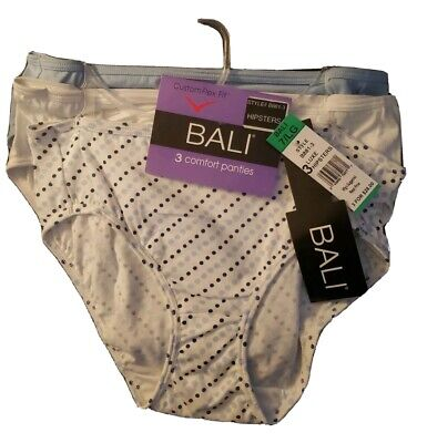 Bali 3 Pair Hipster Custom Flex Fit Cotton Panty Underwear Size 7/LG B881-3 NWT