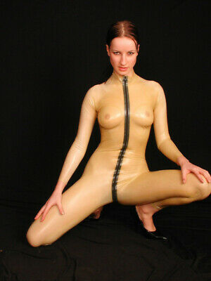 Latex Rubber Transparent Cosplay Black Zip Bodysuit Overall Catsuit S-XXL 0.4mm