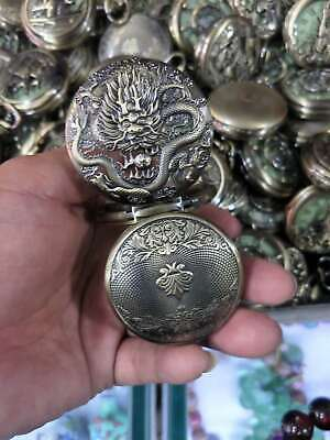 Collectables old delicate brass dragon mechanical pocket watch have access to