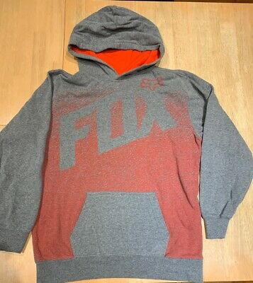 Boys FOX Grey Hooded Jumper  Size XL