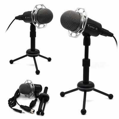 Black Y20 3.5mm Stereo Studio Desktop Microphone MIC for Skype MSN PC Mac Laptop