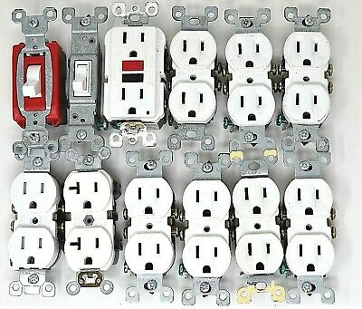 12 Piece Lot 2 Light Switches 10 Wall Outlets Leviton Pass & Seymour