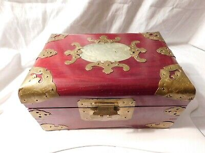 Vintage Chinese Rosewood Brass Jade Jewelry Box