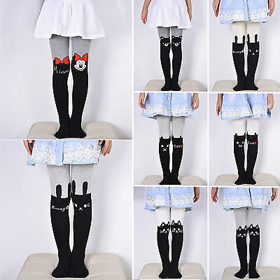 Kids Baby Girls Cute Cartoon Print Socks Tights Trousers Winter Warm Pants 2-7Y