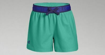 Bnwt - Girls Under Armour Play Up Shorts - Green/Purple - Size Ylg - Age 13-14