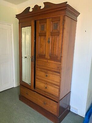 Victorian  Century Solid Mahogany Wardrobe Mirror Chest Of Drawers Cupboard