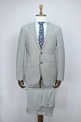 $1560 RAFFAELE CARUSO Gray WOOL Solid Full Canvas Slim Suit 50IT 40US/UK 34X39