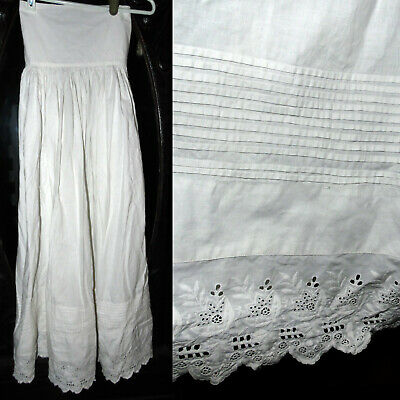 Antique Victorian 1800s Beautiful Embroidered Pleated High Waist Dress Petticoat