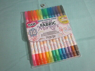 Tulip DUAL-TIP FABRIC MARKERS 14 Rainbow Colors Brush /& Extra Fine Tip 31960