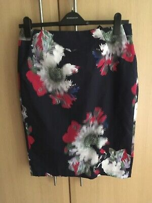 BNWT Fab FRENCH CONNECTION Blue floral pencil style skirt size 14-£75