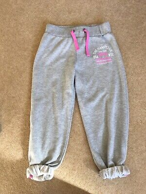Girls Grey Cropped Joggers Jogging Bottoms Leggings Age 10-11