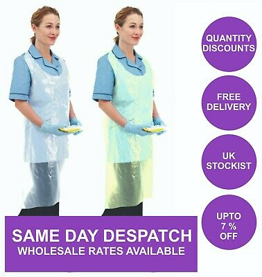 Disposable Plastic Aprons White NHS Polythene Aprons Eco Flat Pack Waterproof UK
