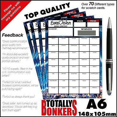 Eurovision Fundraising Scratch Cards  40 Countries  - Football Card