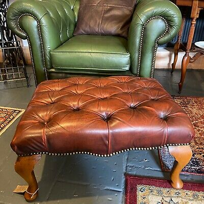 Vintage Chesterfield Queen Anne Footstool Ottoman Leather Studded Tufted Brown