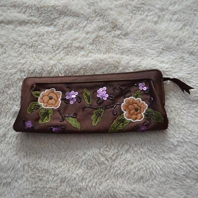 Avon Brown Floral Embroidered Sequin Clutch