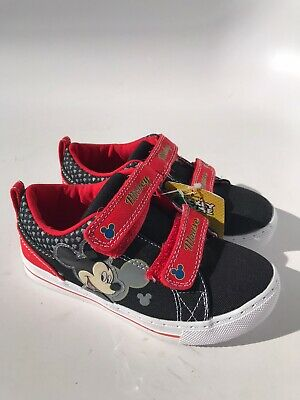 Disney Mickey Mouse Trainers Sneakers Shoes Red or Black Kids Teenager Eu Sizes